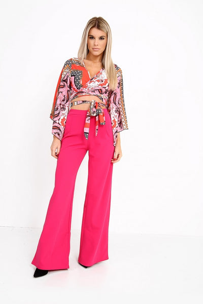 Luna Hot Pink High Waisted Flare Trousers - Pretty Rebel
