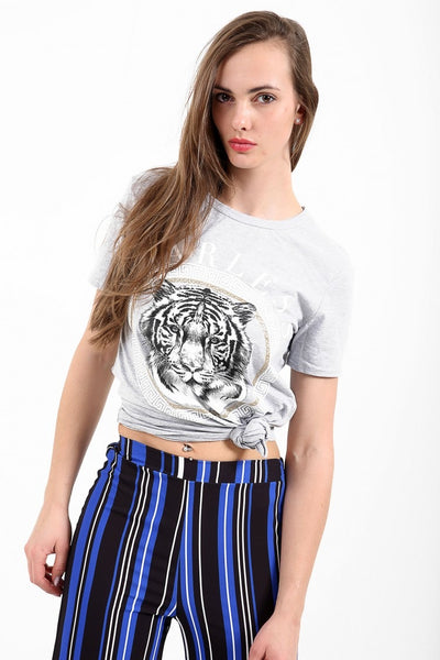 Sasha Fearless Tiger Print Grey T Shirt - Pretty Rebel