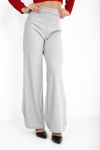Luna Grey High Waisted Flare Trousers - Pretty Rebel