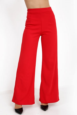Luna Red High Waisted Flare Trousers - Pretty Rebel