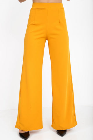 Luna Mustard Yellow High Waisted Flare Trousers - Pretty Rebel