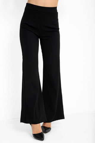 Luna Black High Waisted Flare Trousers - Pretty Rebel