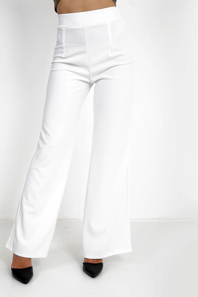Luna White High Waisted Flare Trousers - Pretty Rebel
