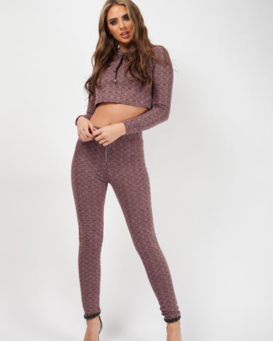 PINK WOVEN MELANGE KNIT CROP TOP & TROUSER CO-ORD, Prettyrebel.com