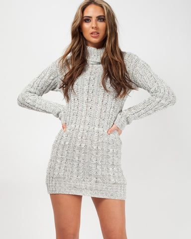 'Jada' Grey Roll Neck Cable Knit Jumper Dress, Prettyrebel.com