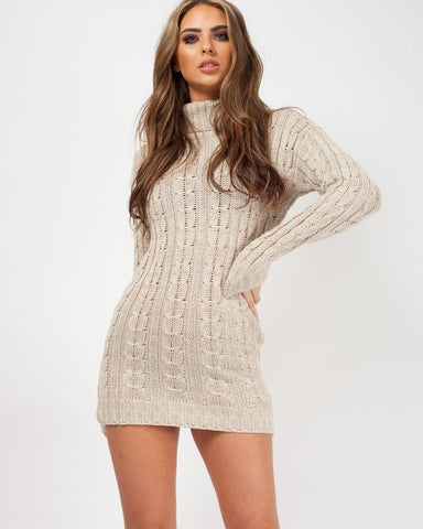 'Jada' Stone Roll Neck Cable Knit Jumper Dress, Prettyrebel.com