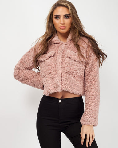 BORG POPPER BUTTON CROPPED JACKET IN PINK, Prettyrebel.com