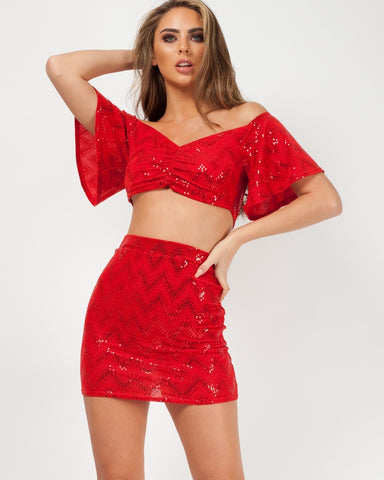 RED SEQUIN CROP TOP & SKIRT CO-ORD, Prettyrebel.com