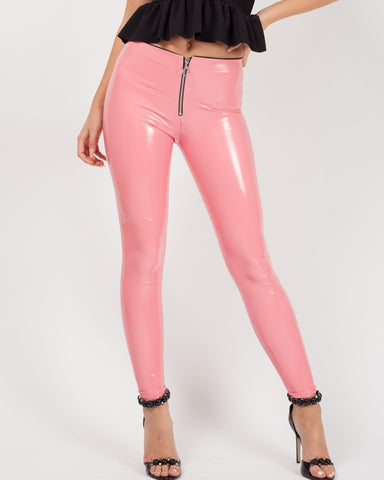 ALESSA PINK ZIP FRONT VINYL PU LEGGINGS - Pretty Rebel