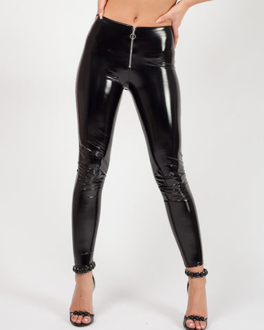 ALESSA BLACK ZIP FRONT VINYL PU LEGGINGS - Pretty Rebel