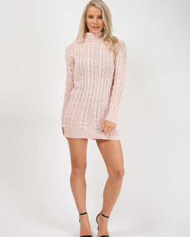 'Jada' Pink Roll Neck Cable Knit Jumper Dress - Pretty Rebel