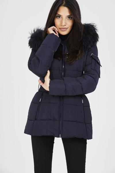 Navy blue quilted navy real raccoon fur hood belt puffer zip jacket, Prettyrebel.com