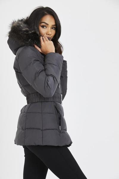 Juanita dark grey quilted grey real fur hood belt puffer zip jacket, Prettyrebel.com