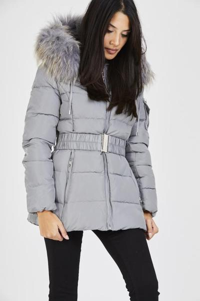 Juanita grey quilted grey real fur hood belt puffer zip jacket, Prettyrebel.com