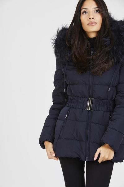 Aria navy blue quilted navy real fur hood belt puffer zip jacket, Prettyrebel.com
