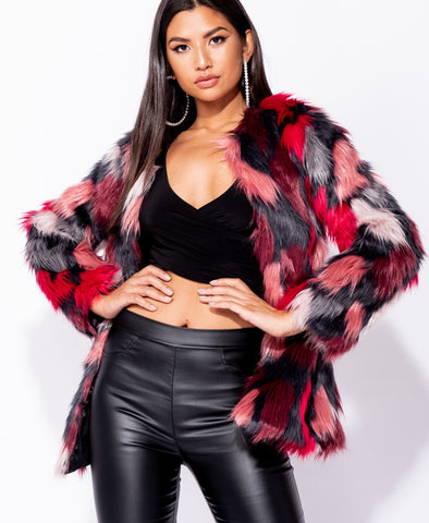 Multi Faux Fur Collarless Fur Coat - Pretty Rebel