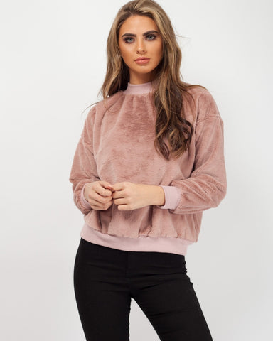 'Miley' Pink High Neck Fluffy Jumper - Pretty Rebel