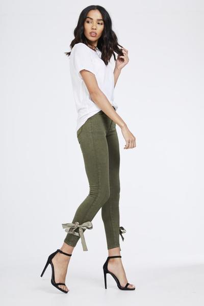 Khaki green side satin ribbon bow skinny jeans - bella, Prettyrebel.com