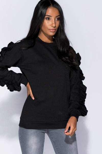 Eliana Black Ruffle Sleeve Sweatshirt Top - Pretty Rebel