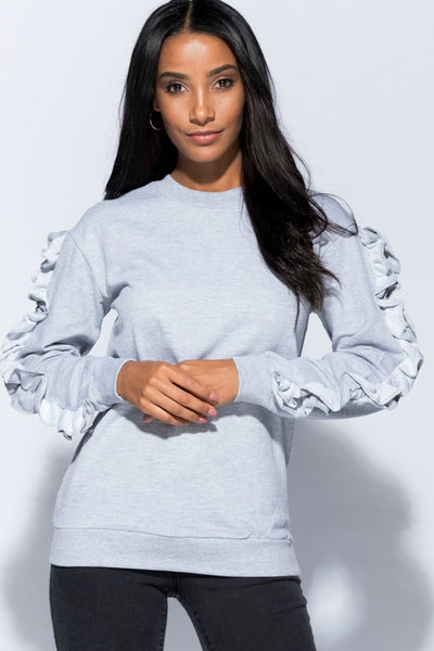 Eliana Grey Ruffle Sleeve Sweatshirt Top - Pretty Rebel