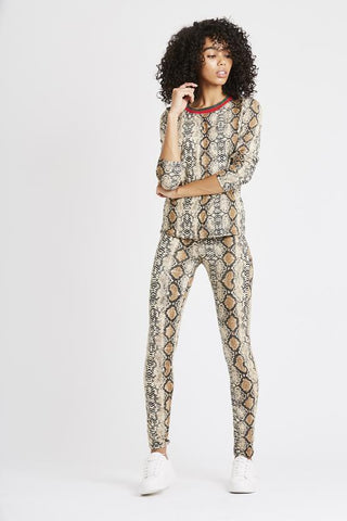Snake Reptile Print Loungewear Co-ord Set - Light Beige, Prettyrebel.com