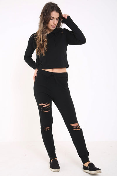 Megan Black Green Distressed Lounge wear Set - Pretty Rebel