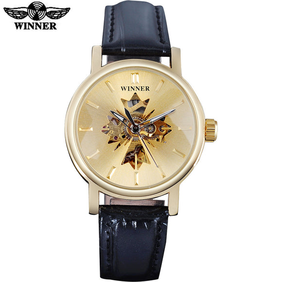 2017 WINNER famous brand women watches  luxury automatic self wind watch skeleton dials transparent glass gold case leather band
