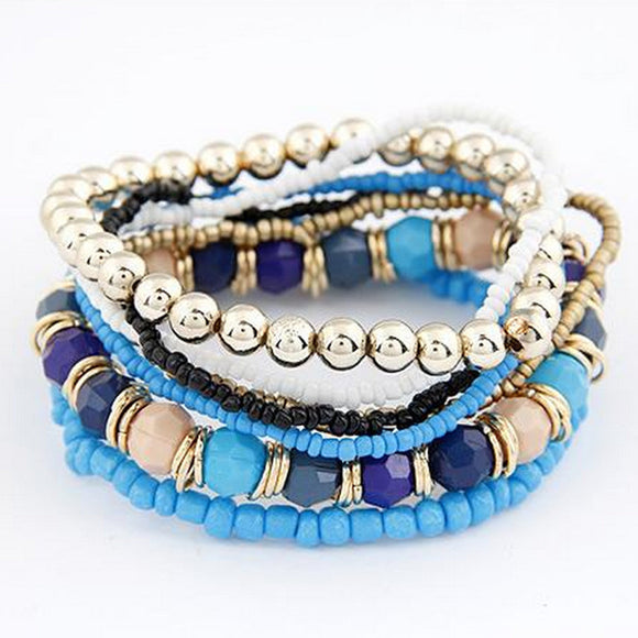 7 piece Boho Multilayer Acrylic Beads Beach Bracelet
