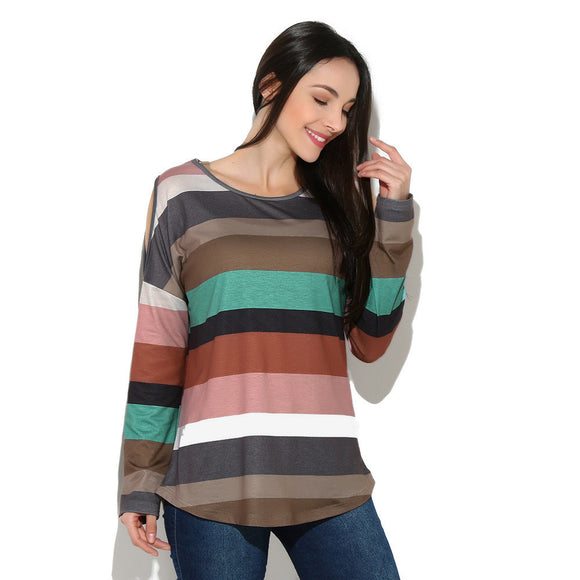 Rainbow Striped Long Sleeve Top