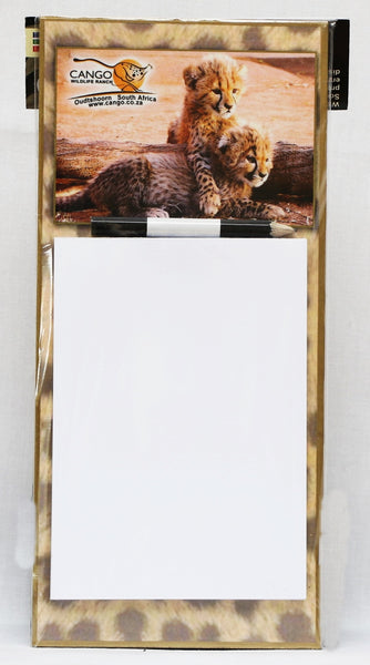 Lrg Magnetic Notepad - Cheetah Cubs