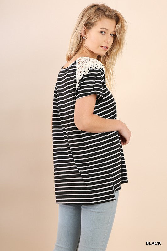 Lace Neckline Striped Top