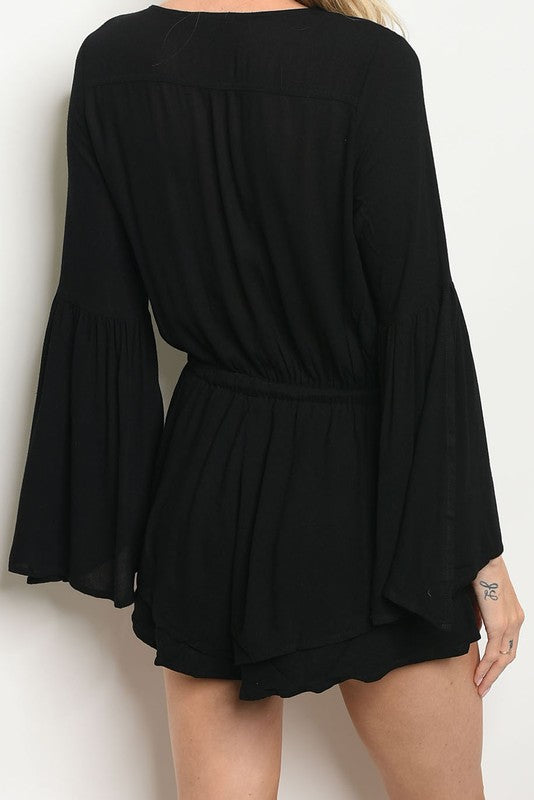 EMBROIDERED CAPE SLEEVE ROMPER