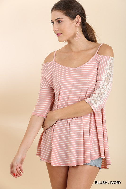 Striped Open shoulder Lace Top