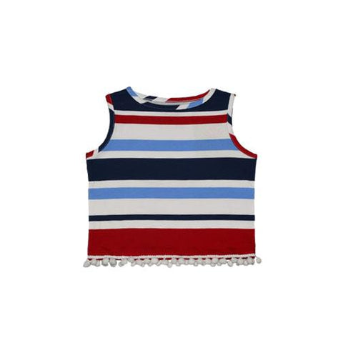 Ladies MJ Flounce Dress - Striped Sails