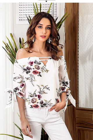 Plus Size Off Shoulder Floral Appliqué Top
