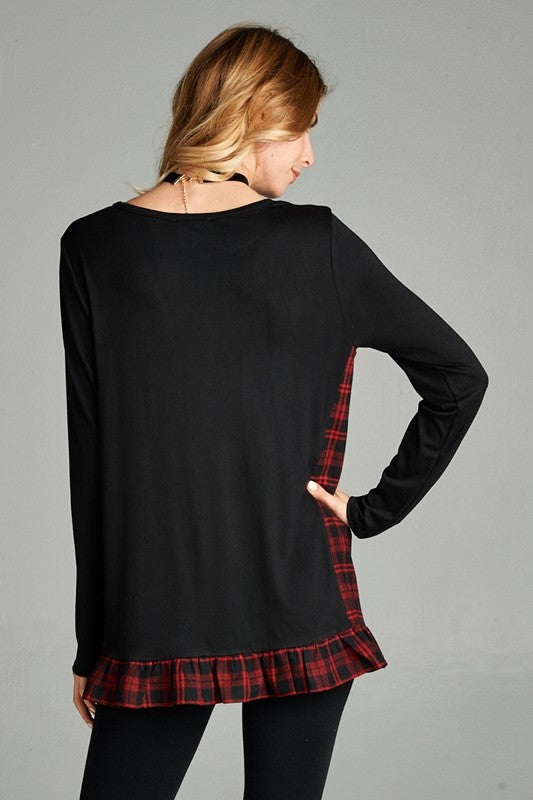 PLEASE ME PLAID TOP