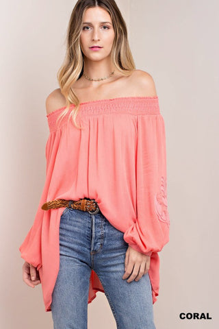 Cold Shoulder Crossed V-neck Top