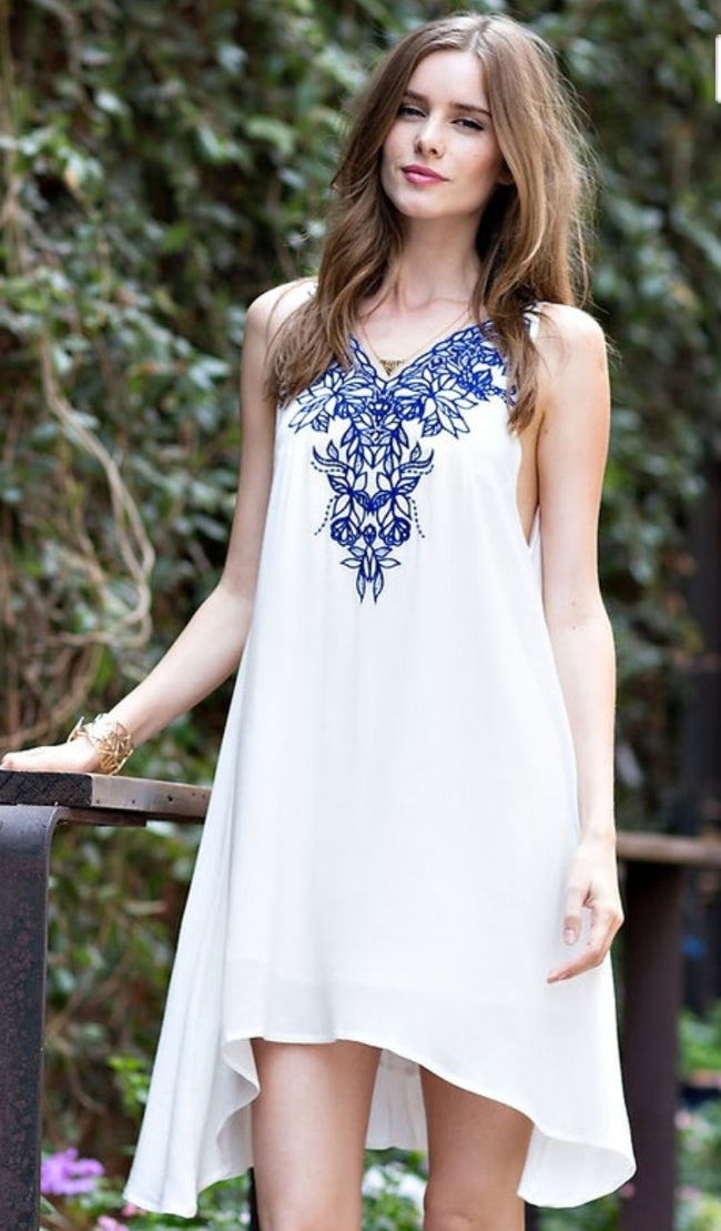 Embroidered T-Strap Back Dress