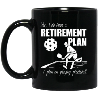 Pickleball Retirement Black Mug 11oz (2-sided)