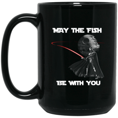 Fish Be With You Black Mug 15oz (2-sided)