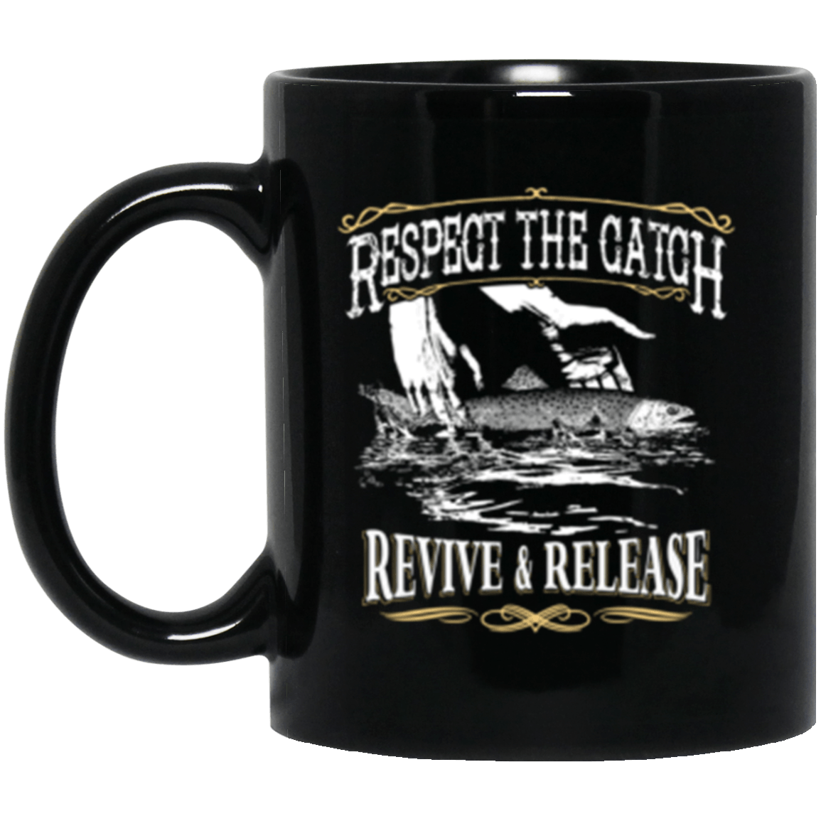 Fly Release Black Mug 11oz (2-sided)