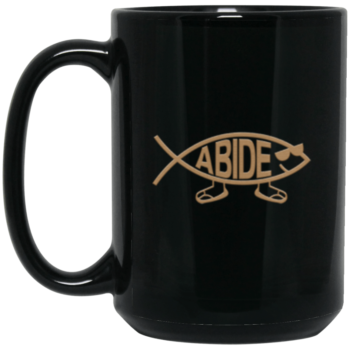 Abide Fish Black Mug 15oz (2-sided)