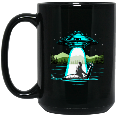 Bigfoot Nessie UFO Black Mug 15oz (2-sided)