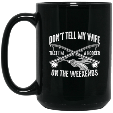 Fly Hooker Black Mug 15oz (2-sided)