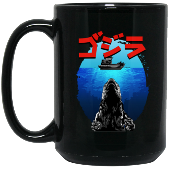 Godzilla Jaws Black Mug 15oz (2-sided)