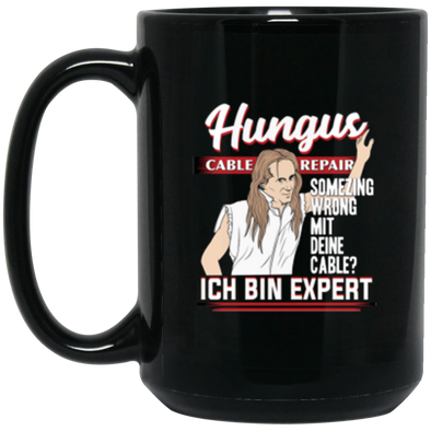 Hungus Cable Repair Black Mug 15oz (2-sided)