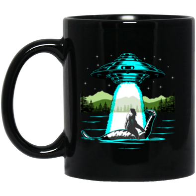 Bigfoot Nessie UFO Black Mug 11oz (2-sided)