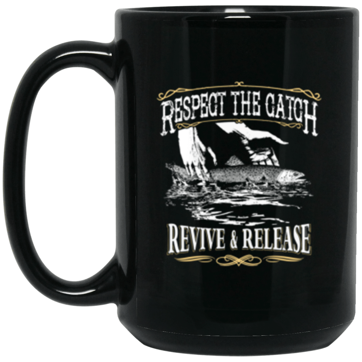 Fly Release Black Mug 15oz (2-sided)