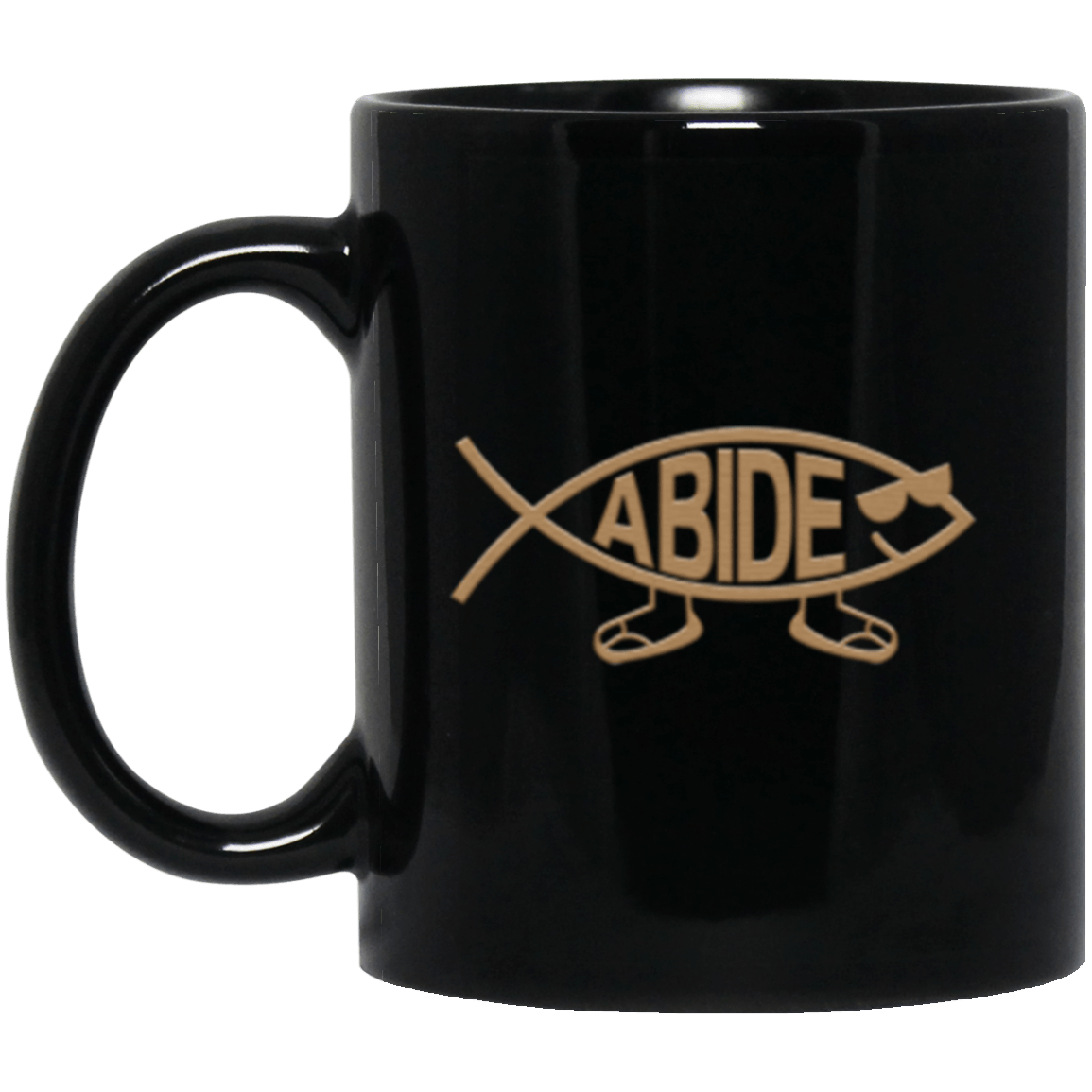 Abide Fish Black Mug 11oz (2-sided)