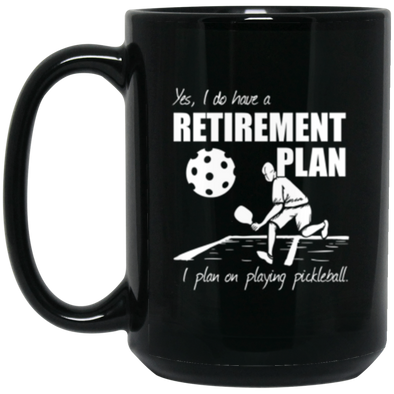Pickleball Retirement Black Mug 15oz (2-sided)